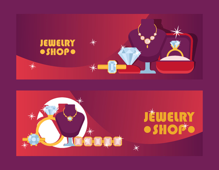 Jewelry shop set of banners vector illustration. Diamond accessories. Engagement rings in box, gold necklaces, bracelet, charms, brilliants. Fashion store. Expensive decor for woman.