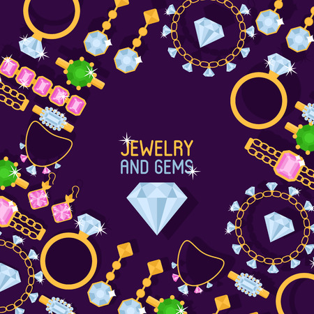 Jewelry shop set of banners vector illustration. Diamond accessories. gold watches, engagement rings in box, gold necklaces, bracelet, charms, brilliants. Fashion store. Expensive decor for woman. Banco de Imagens - 124118800