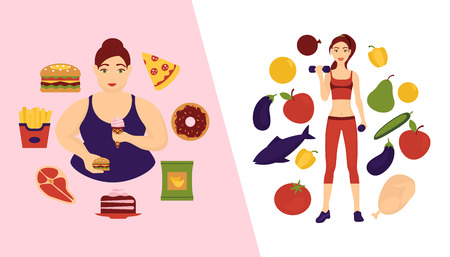 Food choice concept banner vector illustration. Two girls with healthy and fresh vegetables and unhealthy fast food. fruits and organic versus junk products with burger, french fries and donuts.