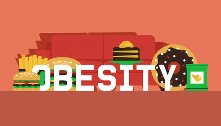 Obesity concept banner vector illustration. Make your choice between healthy and junk food. Defeat obesity today. Sofa with fast food such as burger, chips, french fries, cake. Lazy time.