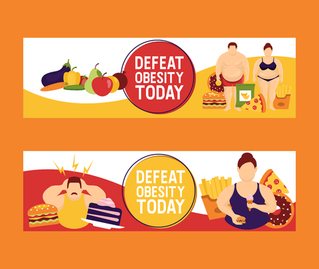 Obesity concept set of banners vector illustration. Make your choice between healthy and junk food. Defeat obesity today. Fat people with fast food such as burger, pizza, french fries.