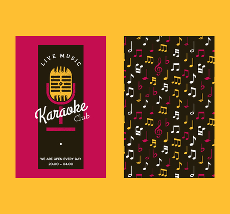 Karaoke club set of banners vector illustration. Live music with notes. Advertisement of event. Microphone for singers songs. Night show party. Singing activity. Opening hours. Enjoy time. Stock Illustratie