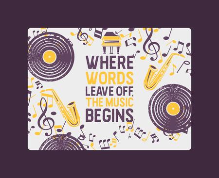 Bandera de instrumentos musicales, ilustración de vector de cartel. Concepto de música con disco de vinilo, saxofón, piano, notas. Tocando instrumento de viento. Evento de música en vivo. Donde las palabras terminan comienza la música. Ilustración de vector