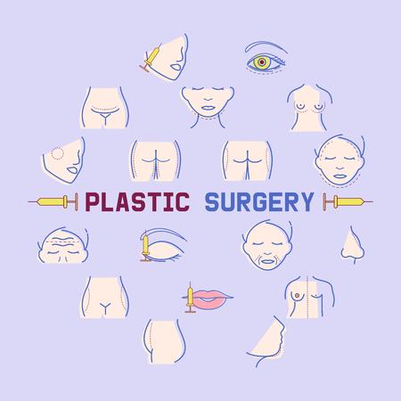 Plastische Chirurgie Banner-Vektor-Illustration. Gesichts- und Körperkorrektur. Arztkonsultation. Brustvergrößerung, Fettabsaugung, Gesichts- und Körperkosmetik. Schönheitsgesundheitsverfahren. Körperteile.