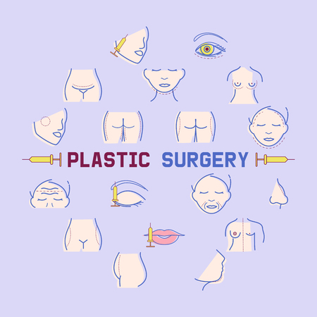 Plastic surgery banner vector illustration. Face and body correction. Doctor consultation. Breast augmentation, liposuction, face and body cosmetology. beauty health procedure. Parts of body.