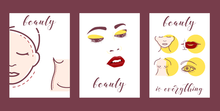 Plastic surgery set of cars vector illustration. Face and body correction. Doctor consultation. Breast augmentation, liposuction, face and body cosmetology. beauty health procedure. Woman beauty.