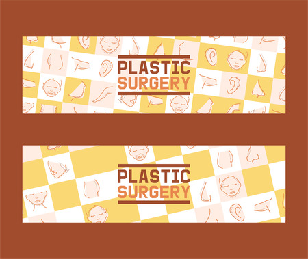 Plastic surgery set of banners vector illustration. Face and body correction. Doctor consultation. Breast augmentation, liposuction, face and body cosmetology. beauty health procedure. Parts of body. Ilustração