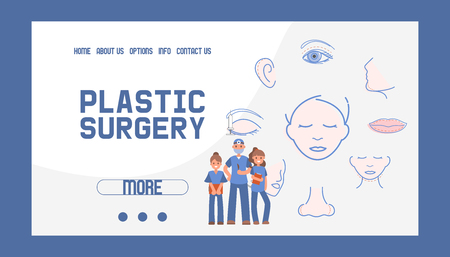 Plastic surgery banner web design vector illustration. Face and body correction. Doctor consultation. Breast augmentation, liposuction, face and body cosmetology. beauty health procedure. Ilustração
