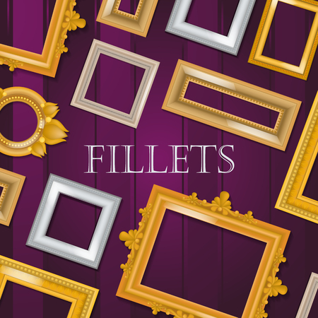 Picture framing banner, flyer, poster vector illustration. Online shopping. Buying fillets in shop or store. Vintage gold, white, black wooden frames for mirrors, paintings. Empty borders. Ilustrace