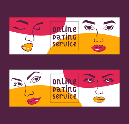 Online dating service set of banners vector illustration. Social networking, virtual relationships concept. Chatting on the Internet. Woman face with make up. Brows, lips, eyes. Communication.