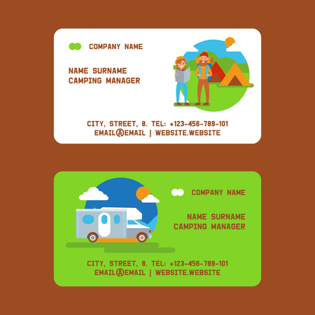Camping manager set of business cards vector illustration. Vacation and tourism concept. Couple of travelers with rucksack and map. Tent, vehicle or car. Summer camp, hiking in nature.