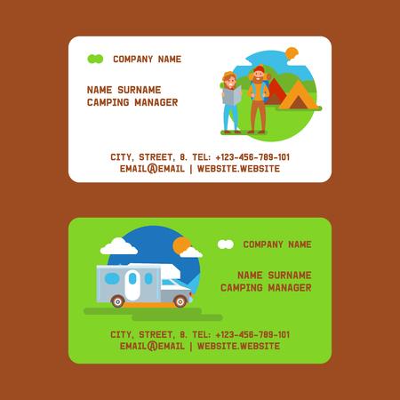 Gestionnaire de camping ensemble d'illustrations vectorielles de cartes de visite. Concept de vacances et de tourisme. Couple de voyageurs avec sac à dos et carte. Tente, véhicule ou voiture. Camp d'été, randonnée dans la nature.