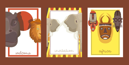 Africa set of cards, banners, posters vector illustration. Wild animals such as rhino, lion, elephant. Ethnical colorful shamanic masks. Welcome invitation. Jungle ethnic culture icons. Travelling.
