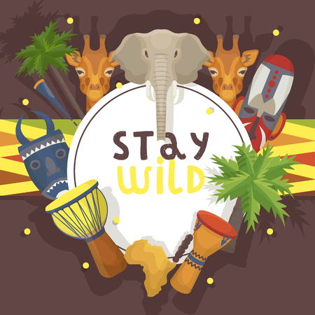 Travel Africa banner, poster vector illustration. Stay wild, animals such as elephant, giraffe. Palms, ethnical colorful shamanic masks, music drums, map. Vacation, tourism Explore new culture