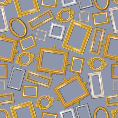 Modèle sans couture de cadres réalistes vintage. Cadre photo d'illustration vectorielle de taille différente. Achat de filets en boutique ou en magasin. Cadres dorés et blancs pour miroirs, tableaux. Bordures vides.