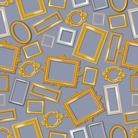 Vintage realistic frames seamless pattern. Picture framing of different size vector illustration. Buying fillets in shop or store. Gold and white frames for mirrors, paintings. Empty borders. Illustration