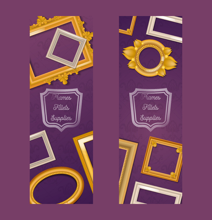 Vintage realistic frames set of banners. Picture framing of different size vector illustration. Buying fillets, supplies in shop or store. Gold and white frames for mirrors, paintings. Illusztráció
