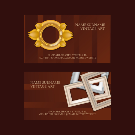 Vintage art set of business cards. Picture framing of different size vector illustration. Buying fillets, supplies in shop or store. Gold and white frames for mirrors, paintings. Contact information.