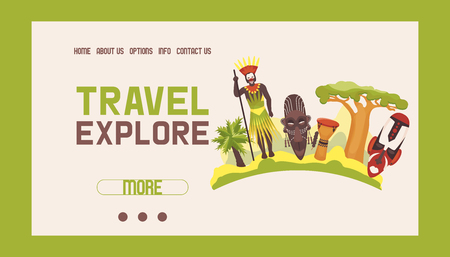 Travel to Africa banner web design vector illustration. Road trip. Tourism, vacation. Old masks. Advertising. Jungle ethnic culture icons. African people in ethnical clothes. Exploration. Contacts.