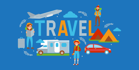 Camping travel banner vector illustration. Vacation and tourism concept. Female, male travelers with map, rucksack, suitcase. Tent, vehicle such as car, plane, bus. Summer camp, hiking Outdoor activity Illustration