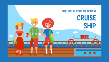 Cruise liner ship travel banner web design vector illustration. Family members standig on ship. Tourist on summer vacation. Rest, relax in sea. Man with drink and camera, woman with bag. Contact info.