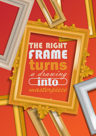 Picture framing banner, poster vector illustration. Buying fillets in shop or store. Vintage gold and white frames for mirrors, paintings. Right frame turnes drawing into masterpiece. Empty borders. Çizim