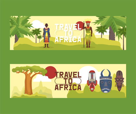 Travel to Africa set of banners vector illustration. Road trip. Tourism, vacation. Old masks. Advertising. Jungle ethnic culture icons. African people in ethnical clothes with spear and accessories.  イラスト・ベクター素材