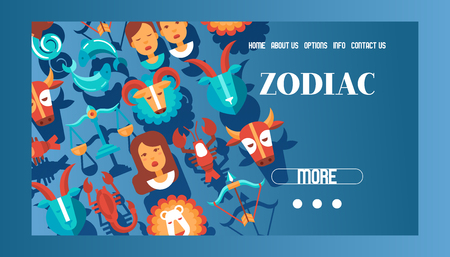 Zodiac signs banner web design vector illustration. Horoscope, astrology icons such as Aries, Taurus Gemini, Cancer Leo, Virgo Libra, Scorpio Sagittarius Capricorn, Aquarius, Pisces.