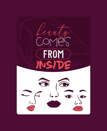 Woman face set of cards, banners vector illustration. Beauty design for salon, make up artist courses training. Cosmetic products, professional care. School for beautician. Beauty comes from inside.
