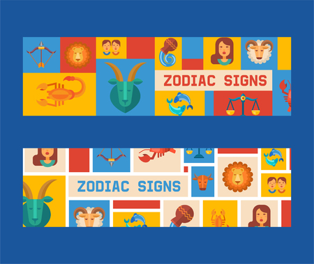 Zodiac signs set of banners vector illustration. Horoscope, astrology icons such as Aries, Taurus Gemini, Cancer Leo, Virgo Libra, Scorpio Sagittarius Capricorn, Aquarius, Pisces.