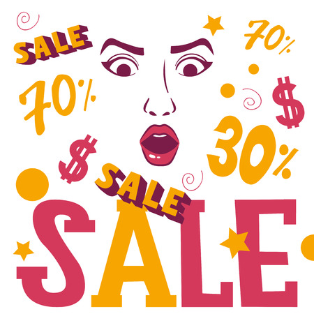 Woman face shopping sale banner vector illustration. Beauty design for salon, make up artist courses training sale. Cosmetic products, professional care. School for beautician. Masterclass Illustration