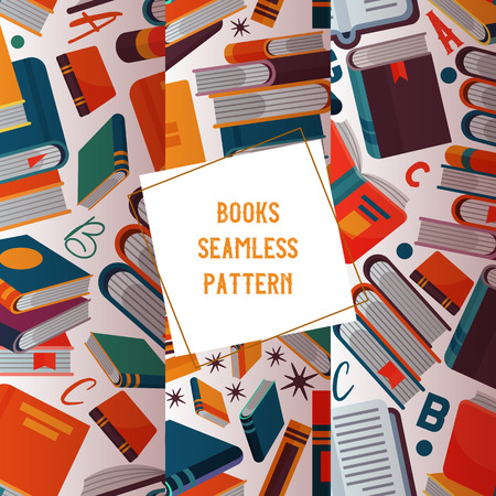 Reading concept seamless pattern vector illustration. Pile of books and flying around open and closed books. Knowledge, learning and education. Alphabet letters. Studying literature. Clever and wise.
