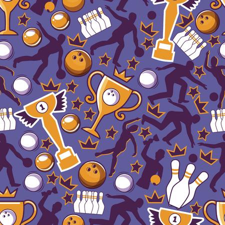 Bowlingspiel nahtlose Muster-Vektor-Illustration. Ball prallt in die Stifte und bekommt einen Schlag. Bowling-Turnier. Gewinner der Meisterschaft. Sieg. Erster Platz. Männliche und weibliche Spieler. Unterhaltung. Vektorgrafik