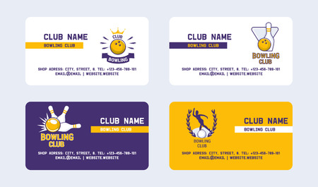 Bowling club set of business cards vector illustration. Ball crashing into the pins,getting strike. Bowling tournament. Winner of championship. Victory. First place. Male players. Illustration
