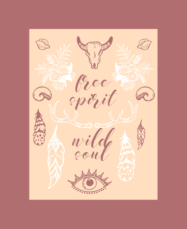 Boho hand drawn sposter, banner vector illustration. Scull, plants such as flowers with leaves, branch, feather with ornament, ethnic tribal eyes, shell, head. Free spirit wild soul. Spiritual motif.