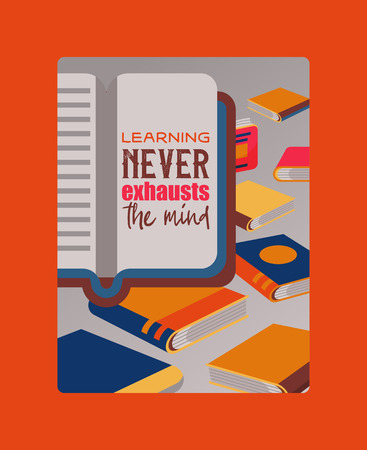 Education banner, poster vector illustration. Pile of books, open and closed. Getting knowledge. Studying literature. Reading concept. Book shop. Learning never exhausts the mind. Clever and wise.