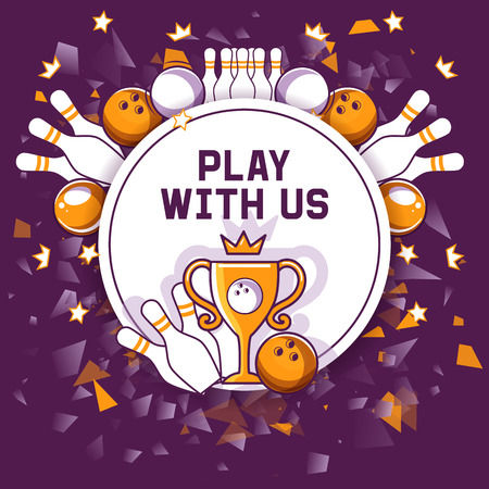 Bowling game banner, poster vector illustration. Ball crashing into the pins,getting strike. Bowling tournament. Winner of championship. Victory. First place. Play with us. Entertainment.