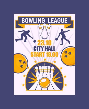 Bannière de la ligue de bowling, illustration vectorielle affiche. Balle s'écrasant sur les quilles, se faisant frapper. Tournoi de bowling de la mairie. Vainqueur du championnat. La victoire. Première place. Divertissement. Vecteurs