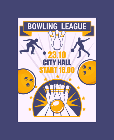 Bowling league banner, poster vector illustration. Ball crashing into the pins,getting strike. Bowling city hall tournament. Winner of championship. Victory. First place. Entertainment.