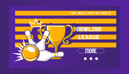Bowling league banner, poster vector illustration. Ball crashing into the pins,getting strike. Bowling tournament. Winner of championship. Victory. First place. Web design. Information.