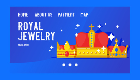 Royal jewelry banner, web design vector illustration. Crowns collection. Accessories for king and queen, prince and princess. Royal game icon. Gold heraldry and coronation, award.