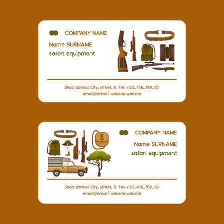 Ensemble d'équipement de chasse Safari d'illustration vectorielle de cartes de visite. Chapeau de camouflage, fusil à obus, cartouchière, couteau, jumelles, munitions, gilet de véhicule et de chasseur, ceinture. Vecteurs