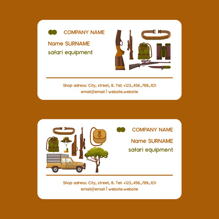 Safari hunting equipment set of business cards vector illustration. Camouflage hat, gun with shells, bandolier, knife, binoculars, ammunition, vehicle and hunter vest, belt.