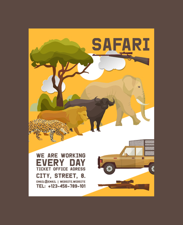 Safari hunting poster vector illustration. Hunter accessories such as gun, jeep car or vehicle in nature with plants as trees, bushes. Sunset. Wild animals as elephant, lion, buffalo, jaguar. Ilustração