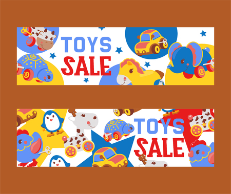 Clockwork bright mechanic children toys shop sale set of banners vector illustration. Mechanical windup cute gifts. Animals such as cow, turtle, elephant, rooster, penguin, horse.