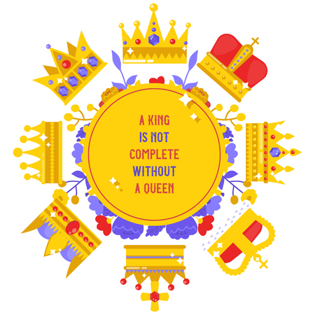 Royal jewelry banner, poster vector illustration. Crowns collection. Accessories for king and queen, prince and princess. Royal game icon. Gold heraldry and coronation, award.
