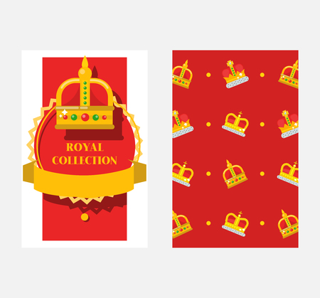 Crowns set of banners, posters vector illustration. Royal collection. Accessories for king and queen, prince and princess. Royal game icon. Gold heraldry and coronation, award. Illustration