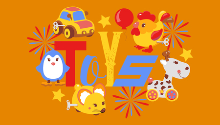Clockwork bright mechanic children toys shop banner, brochure vector illustration. Mechanical windup cute gifts. Animals such as mouse, rooster, penguin, giraffe. Car and balloon.