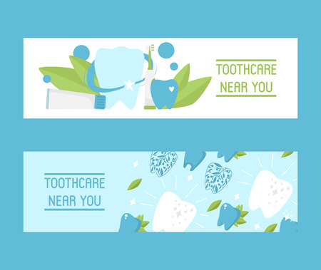 Toothcare near you set of banners vector illustration. Healthy tooth under protection with glowing effect, teeth whitening concept. Oral care clinic. Mint toothpaste with brush. Herbs leaves. Illustration