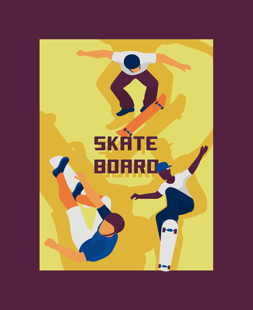 Scateboard boys poster, banner vector illustration. Young guys riding, doing tricks on skate. Spending free time. Healthy lifestyle concept. Learning in school. Active hobby. Male sporty characters. Vectores